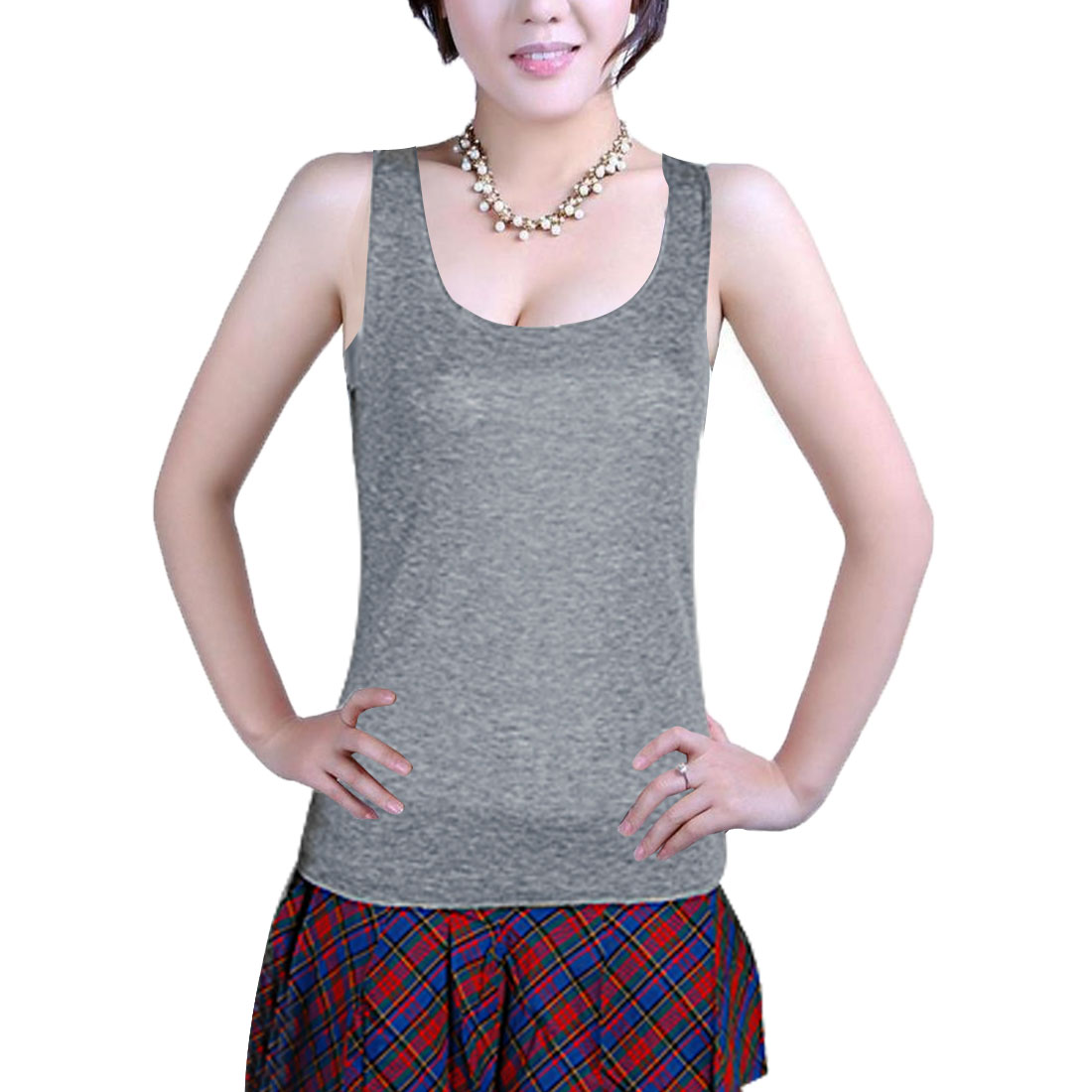 Ladies XS Racerback Sleeveless Scoop Neck Knit Tank Top Gray