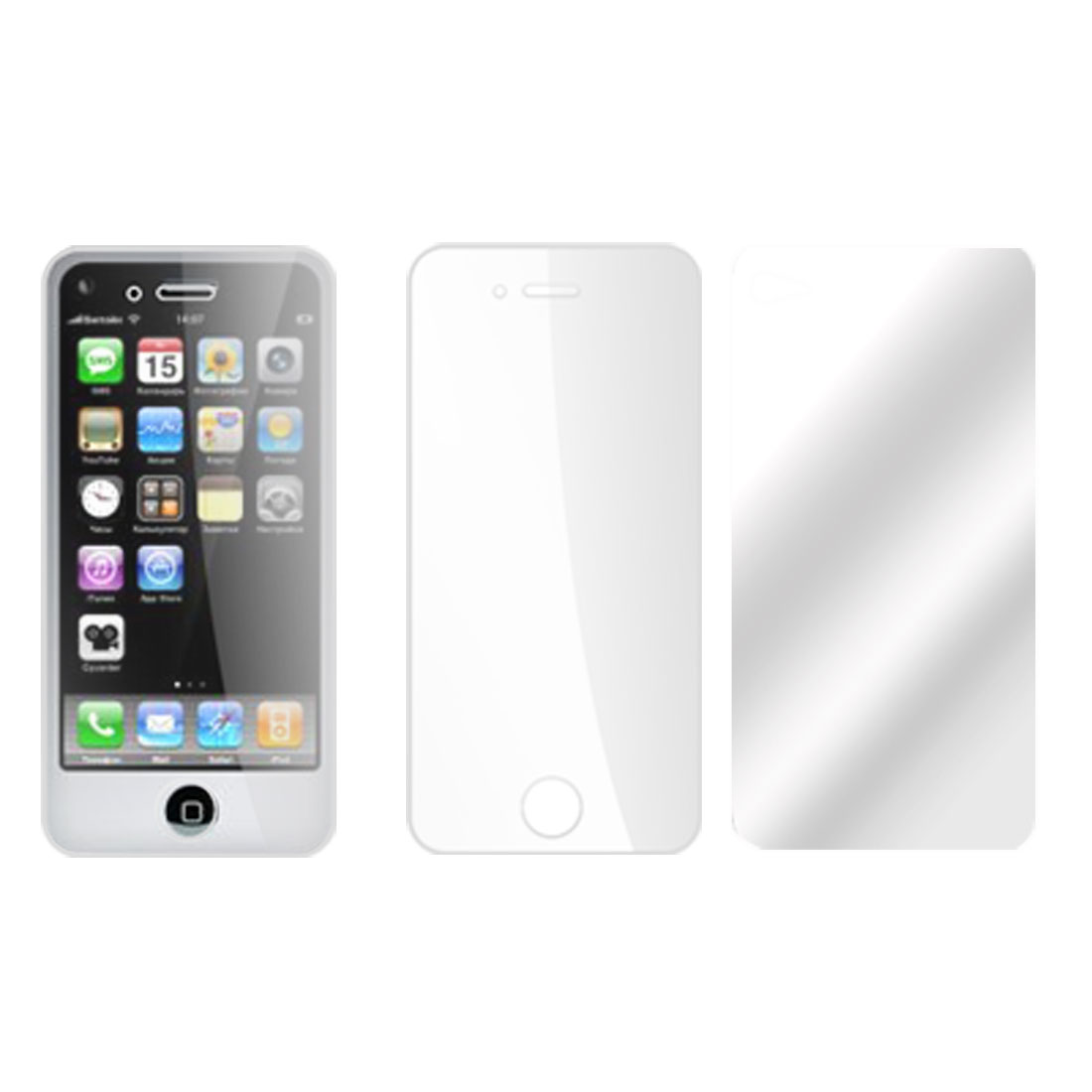 2 in 1 Clear Screen Guard Film Protector Back for Apple iPhone 4
