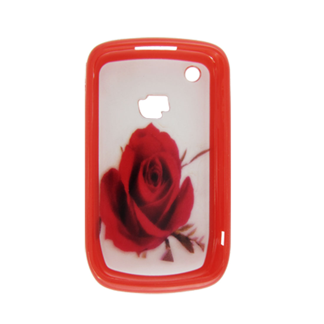 Red Rose Flower Case Plastic Protector for Blackberry 8520