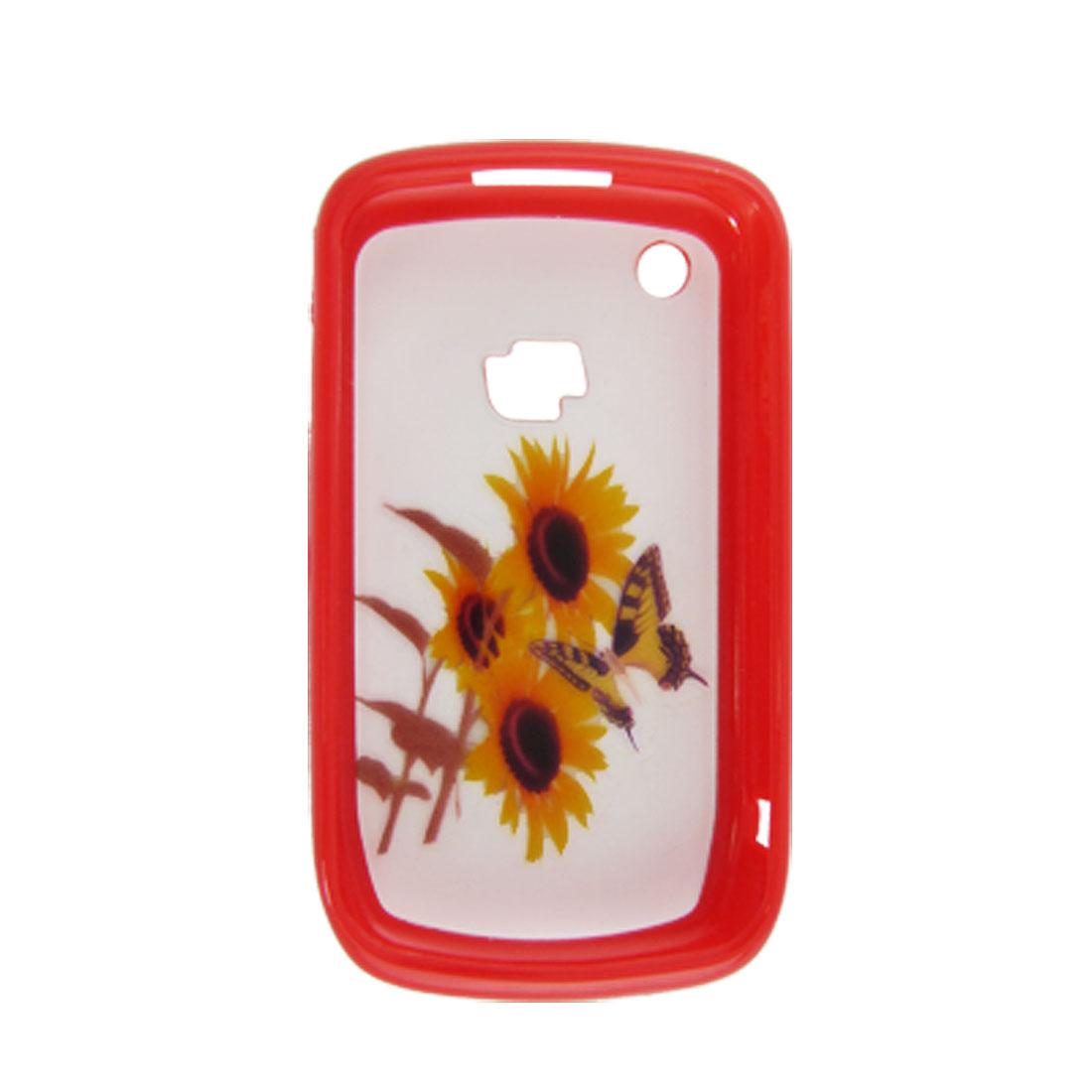 Butterfly Sunflower Plastic Case for Blackberry 8520 Red