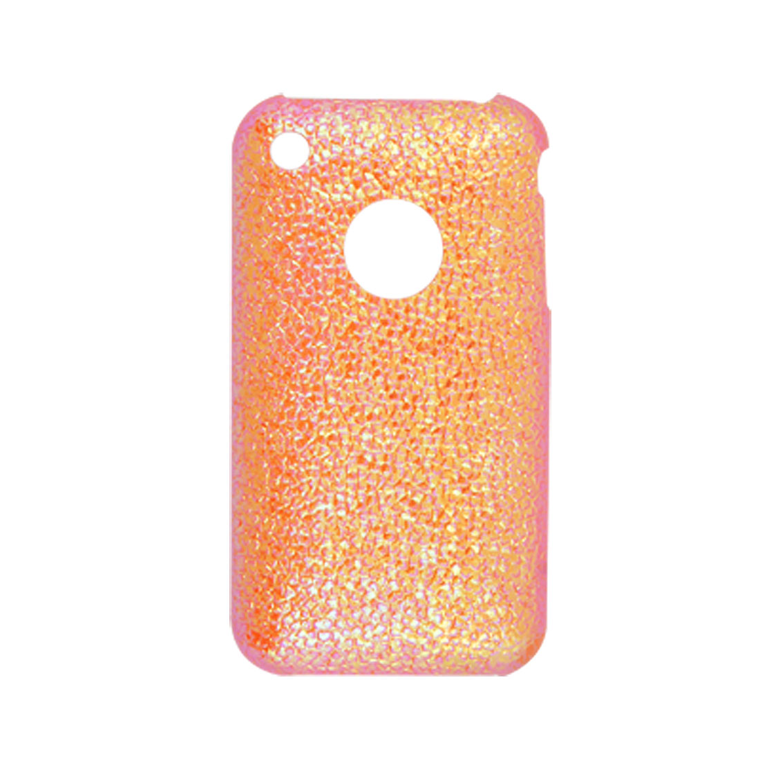 Nonslip Orange Red Hard Plastic Glittery Back Hole Case for iPhone 3G