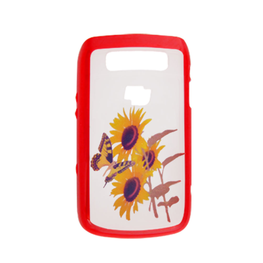 Sunflower Butterfly Soft Side Cover Red for Blackberry 9700