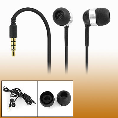 Black 3.5mm Silicone Earbud Earphone with Microphone