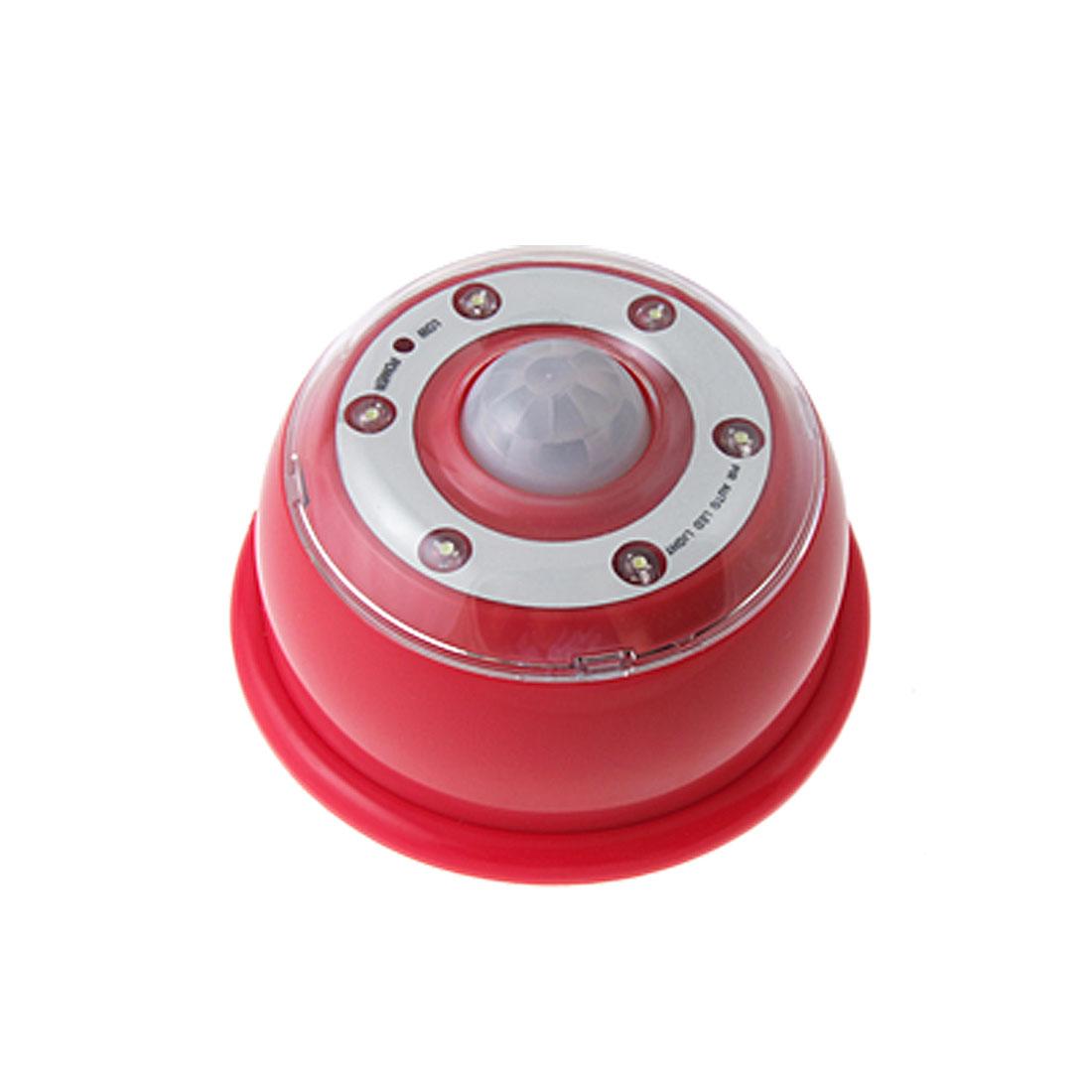 Red Motion Detector Energy Saving 6 White LED Auto Sensor Light Lamp