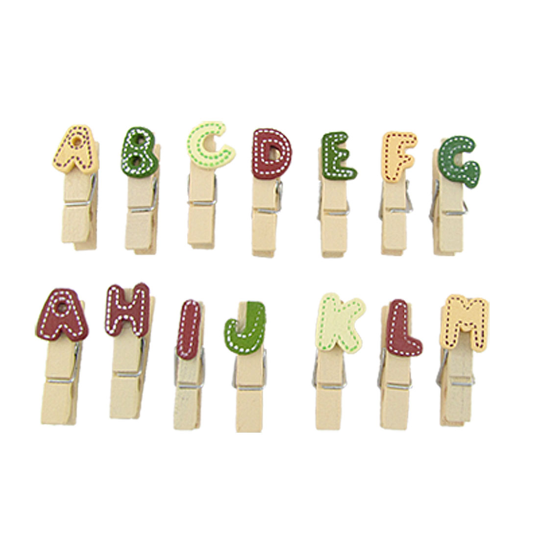 Letters Spring Wooden Clothes Pins Clips Clothespins 14 PCS