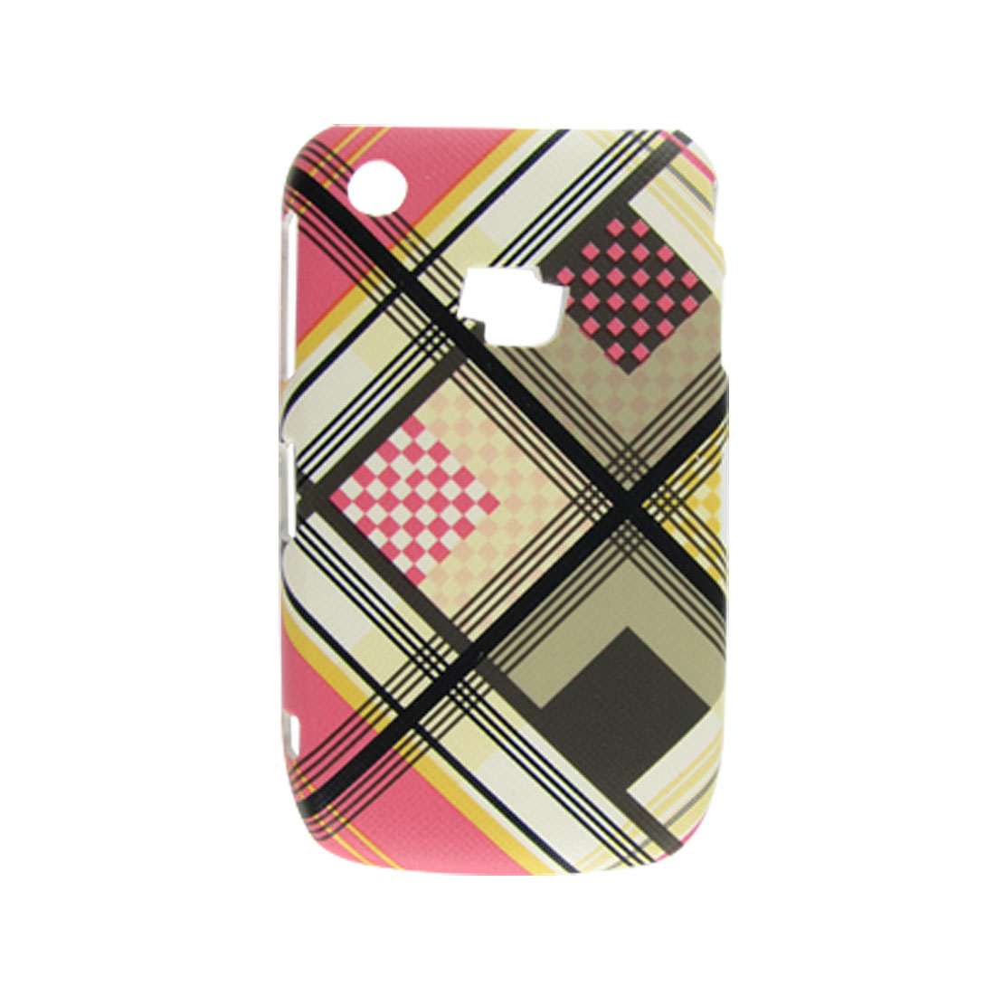Faux Leather Coated Hard Plastic Plaid Back Case for Blackberry 8520