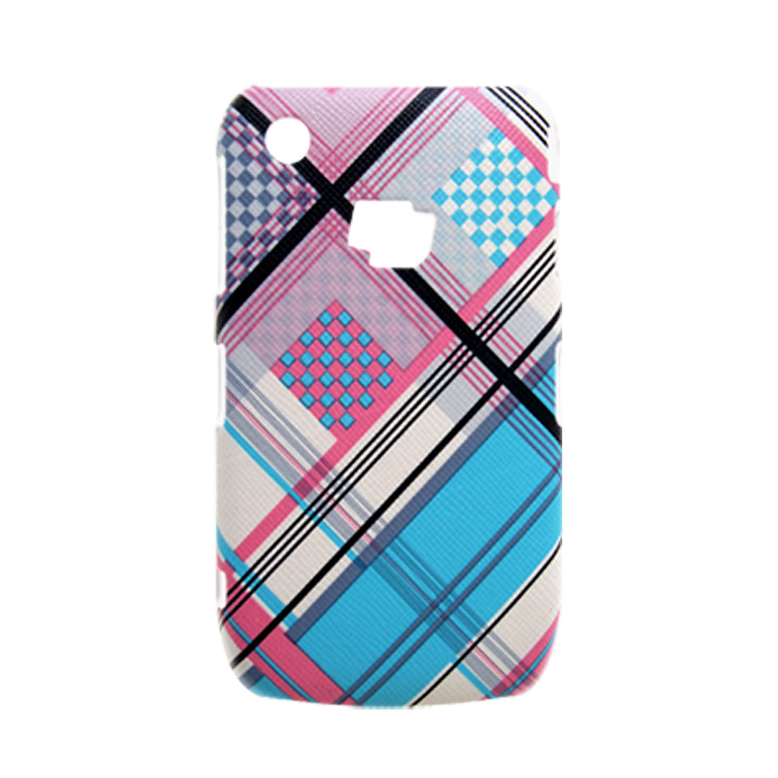 Hard Plastic Plaid Faux Leather Coated Colorful Case for Blackberry 8520