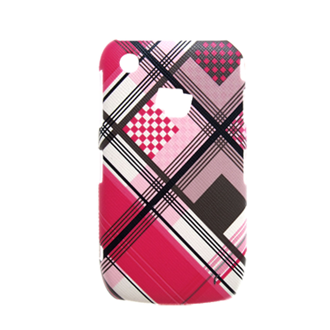 Plaid Faux Leather Coated Hard Plastic Colorful Case for Blackberry 8520
