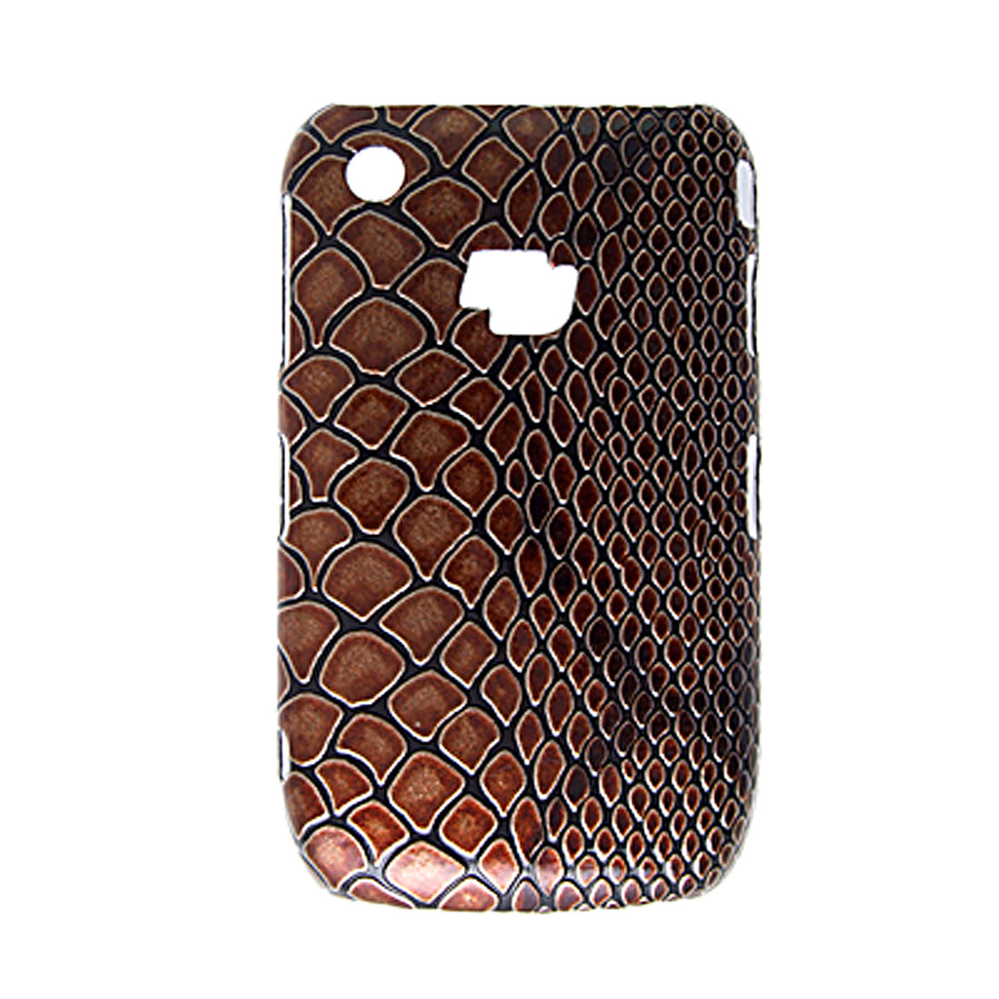 Snake Print Brown Hard Plastic Back Case Skin for Blackberry 8520