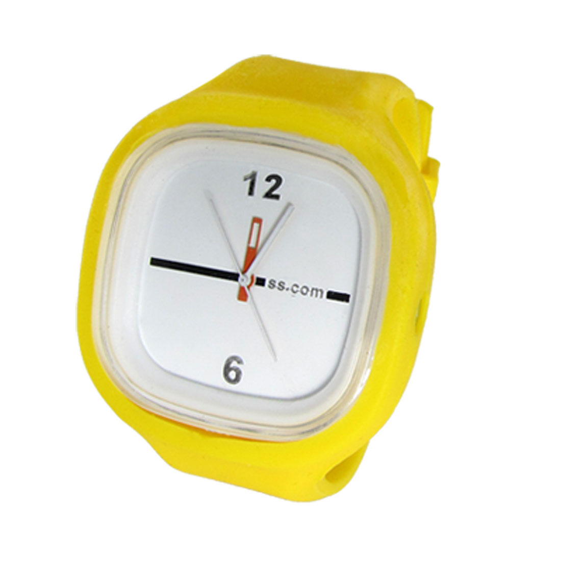 Leisure Yellow Dial Square Wrist Watch with Silicone Band for Lady