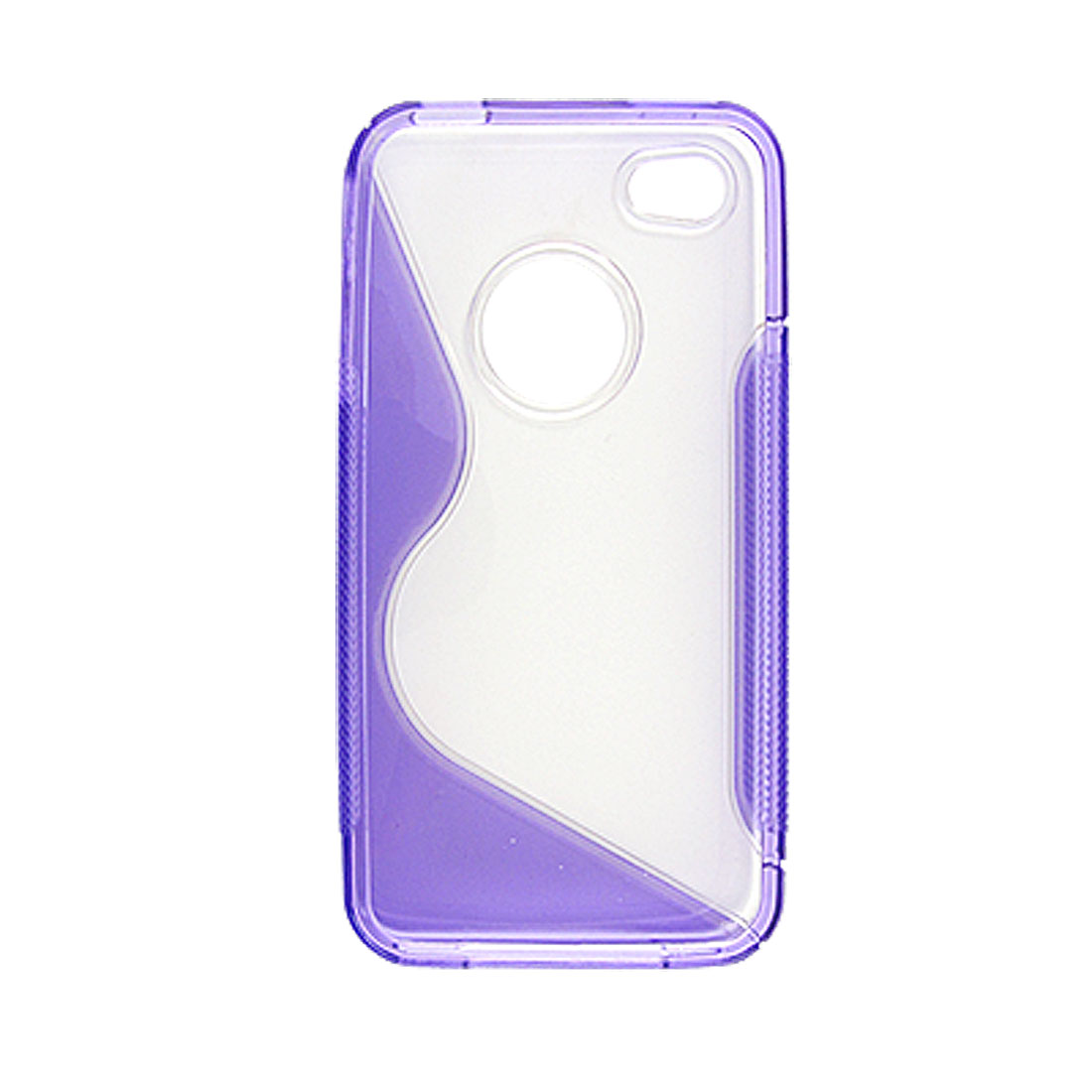 Hard Plastic Cover Clear and Purple for iPhone 4