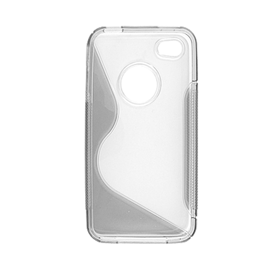 Antislip Side Hard and Soft Plastic Case Clear and Gray for iPhone 4 4G