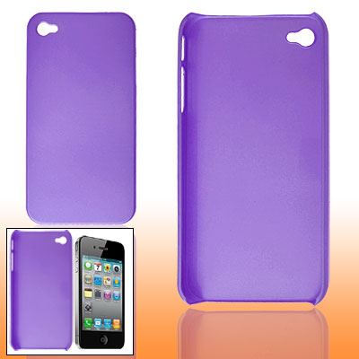 Purple Rubberized Plastic Back Case Shell for iPhone 4 4G