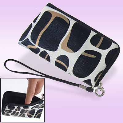 Black Irregular Shape Print Faux Leather Zipper Bag Case