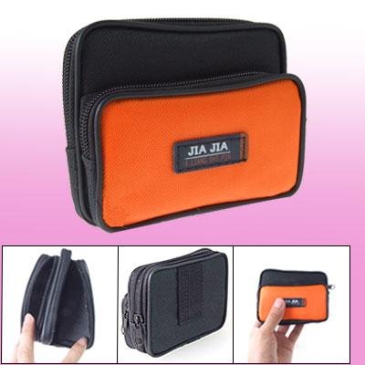 Cell Phone Black Orange Nylon Two Compartment Zipper Waist Bag