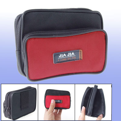 Black Red Nylon Zipper Closure Waist Pack Bag