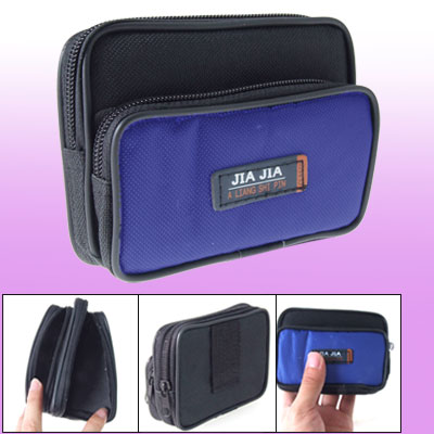 Phone Black Blue Nylon Zipper Waist Pack Bag