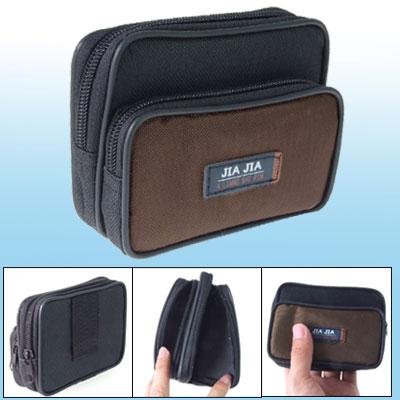 Black Brown Nylon Zipper Waist Bag