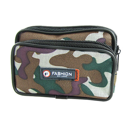 Black Camouflage Nylon 2 Compartment Zipper Waist Bag Pack