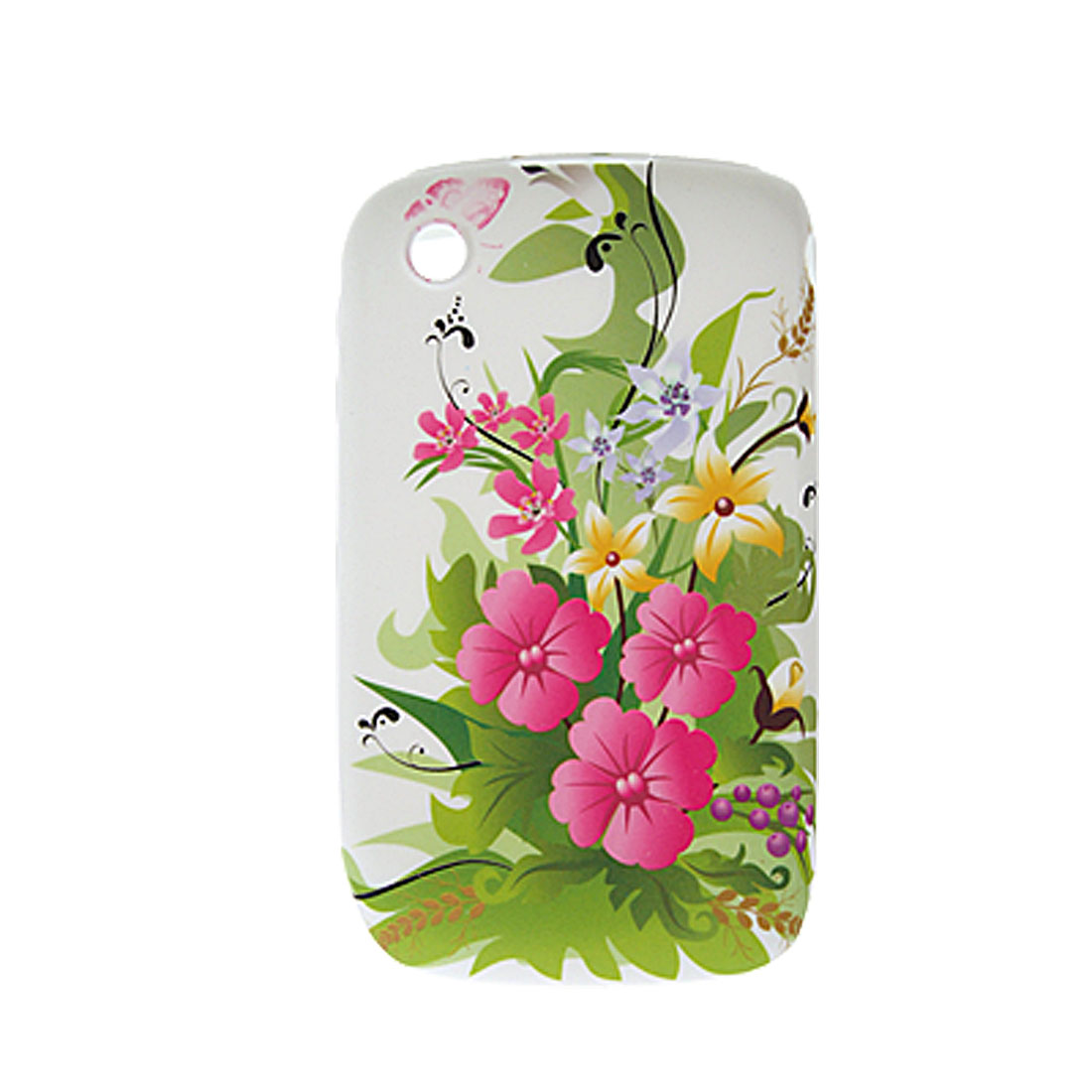 Floral Soft Plastic Cover + Screen Protector for Blackberry 8520