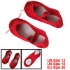 Girls Red Elastic Band Canvas Flat Shoes for Dancing Ballet US Size 12