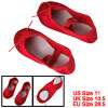 Red Canvas Flat Slippers Dancing Ballet Shoes for Girls US Size 11
