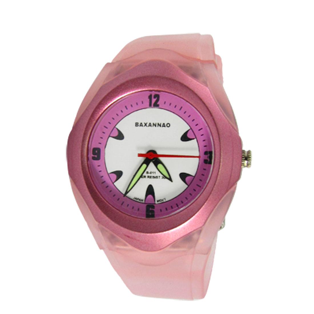 Pink Plastic Band Luminous Watch Hand Children Wristwatch