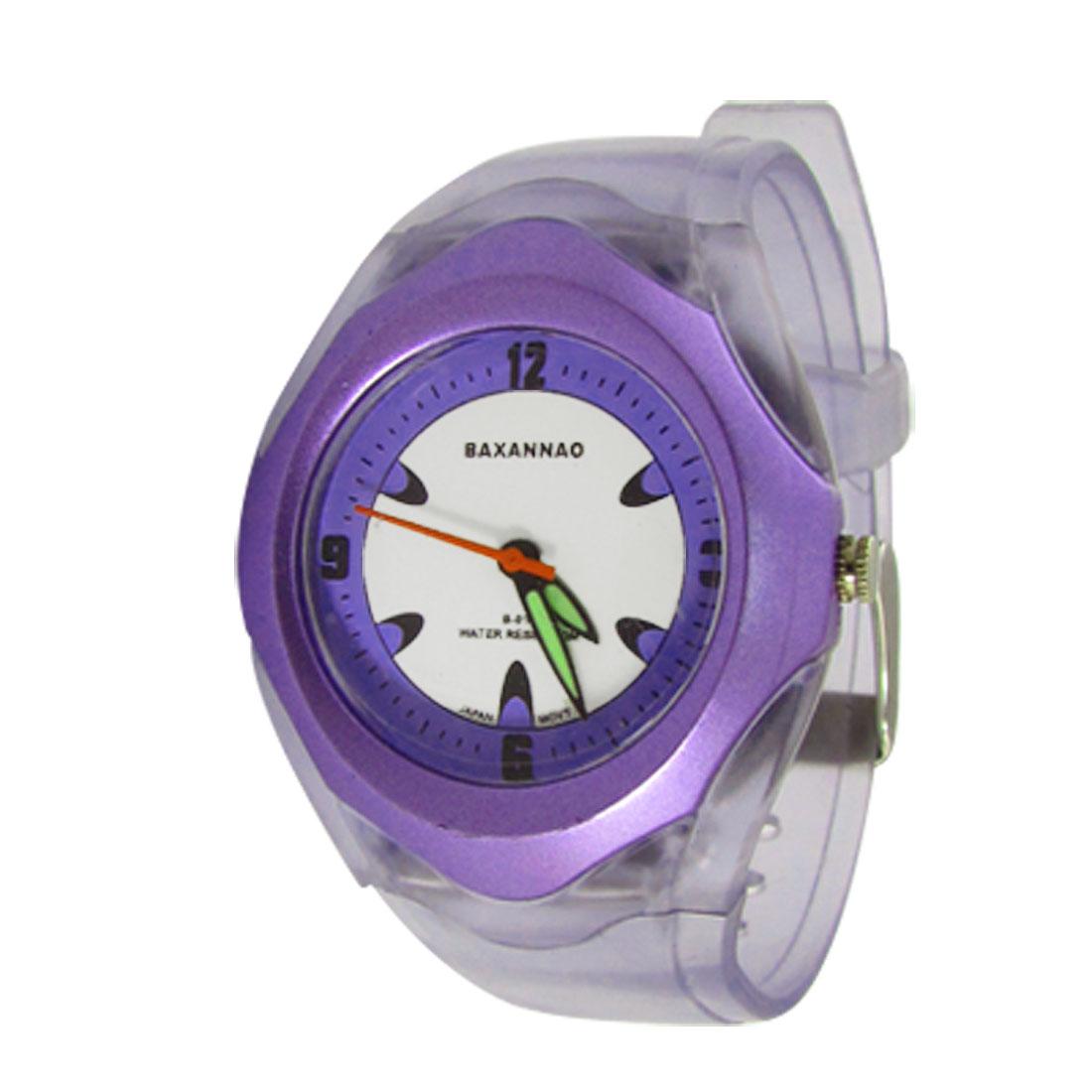 Light Purple Plastic Band Luminous Watch Hand Wristwatch for Children