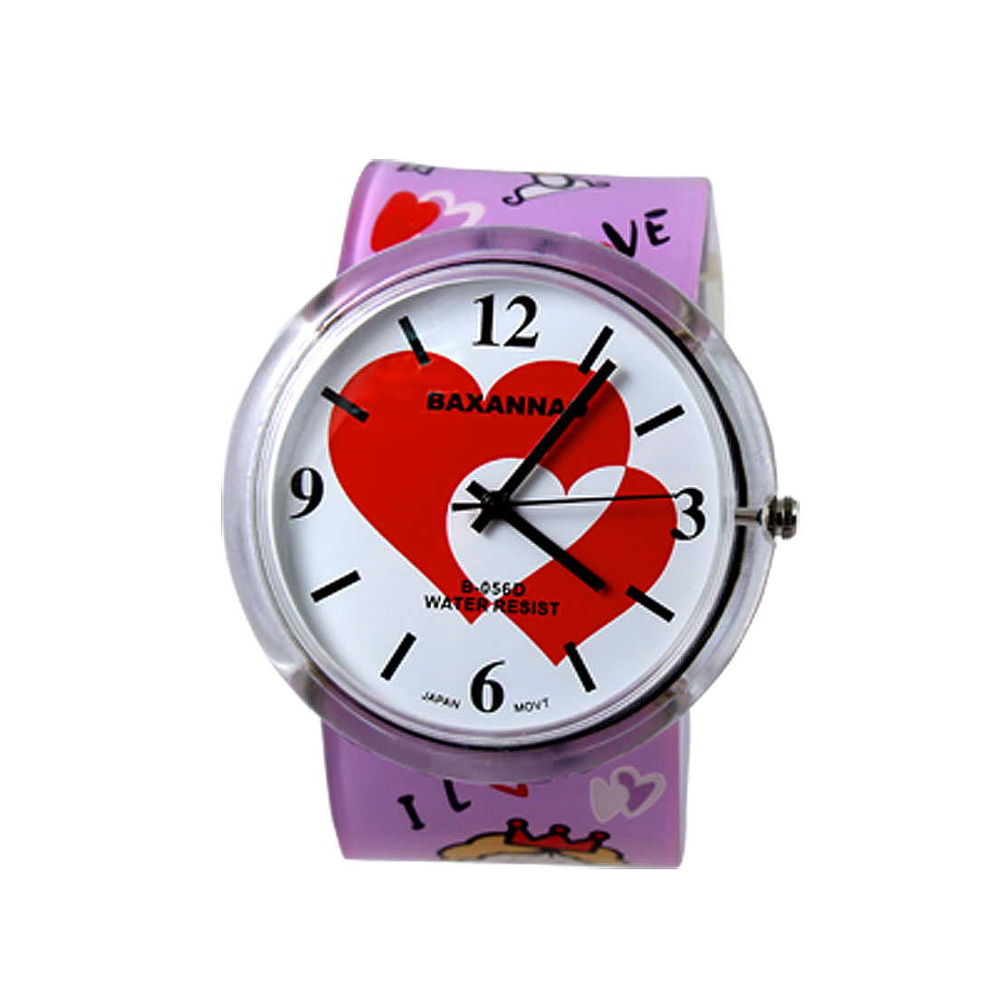 Children Girls I LOVE U Round Dial Plastic Band Wristwatch