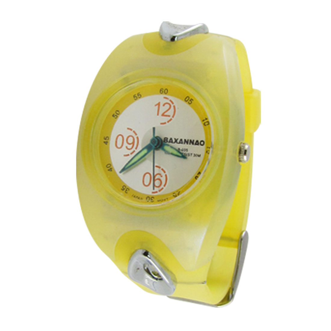 Yellow Soft Plastic Band Water Resistant Wrist Watch for Children
