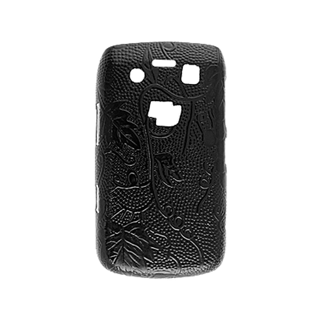 Grape Black Hard Plastic Faux Leather Coated Back Case for Blackberry 9700