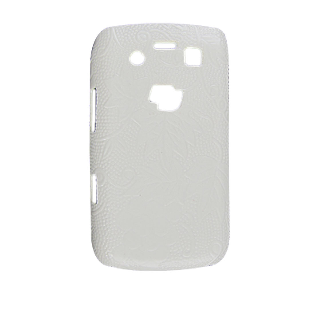 Grape Hard Plastic Faux Leather Coated Back Case for Blackberry 9700 White