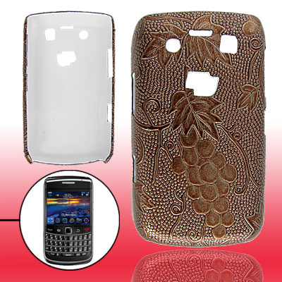 Brown Grape Hard Plastic Faux Leather Coated Skin for Blackberry 9700
