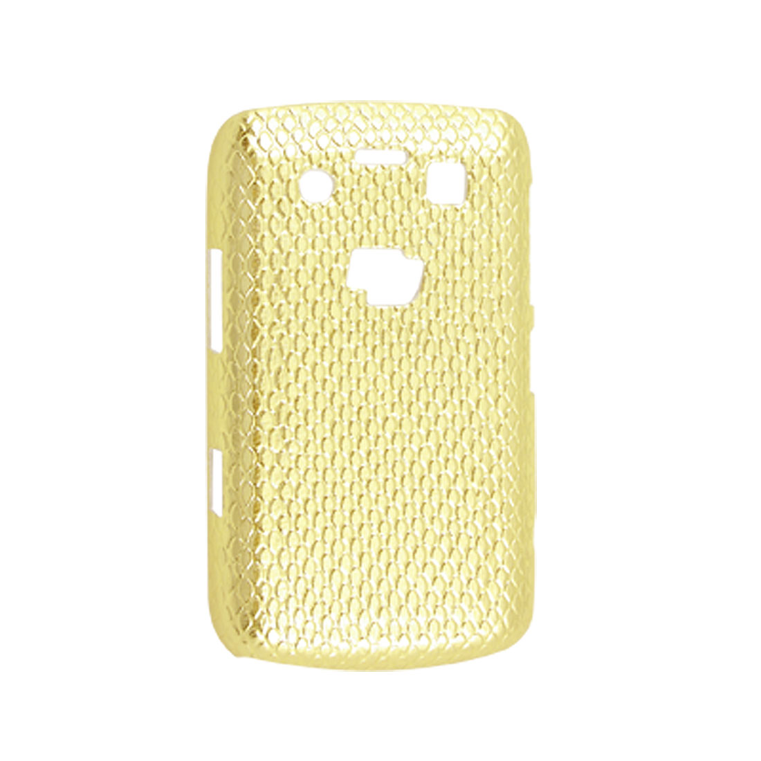 Hard Plastic Gold Tone Faux Leather Coated Snake Print Cover for Blackberry 9700