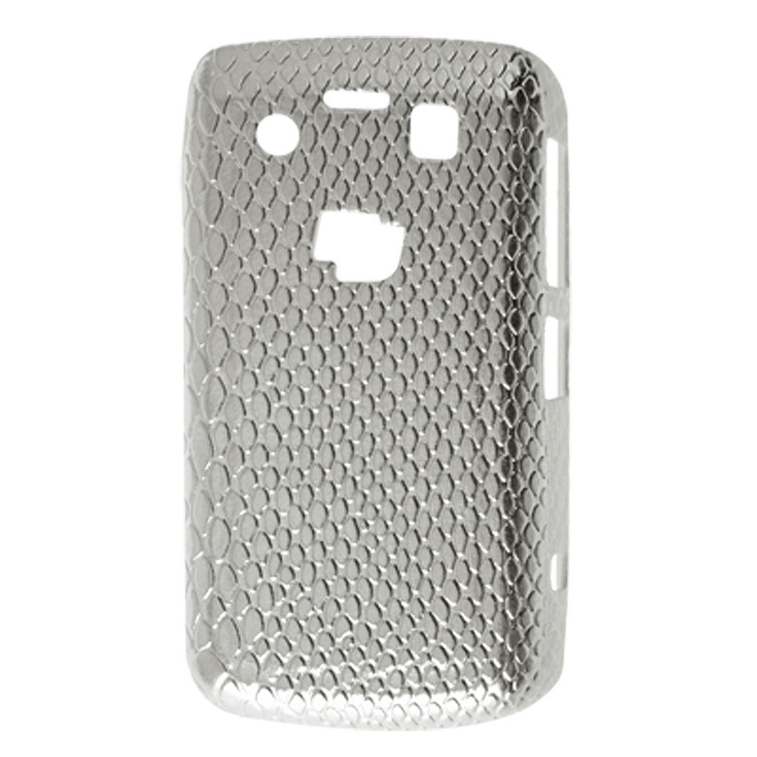 Hard Plastic Faux Leather Coated Snake Print Case for Blackberry 9700 Silver Tone