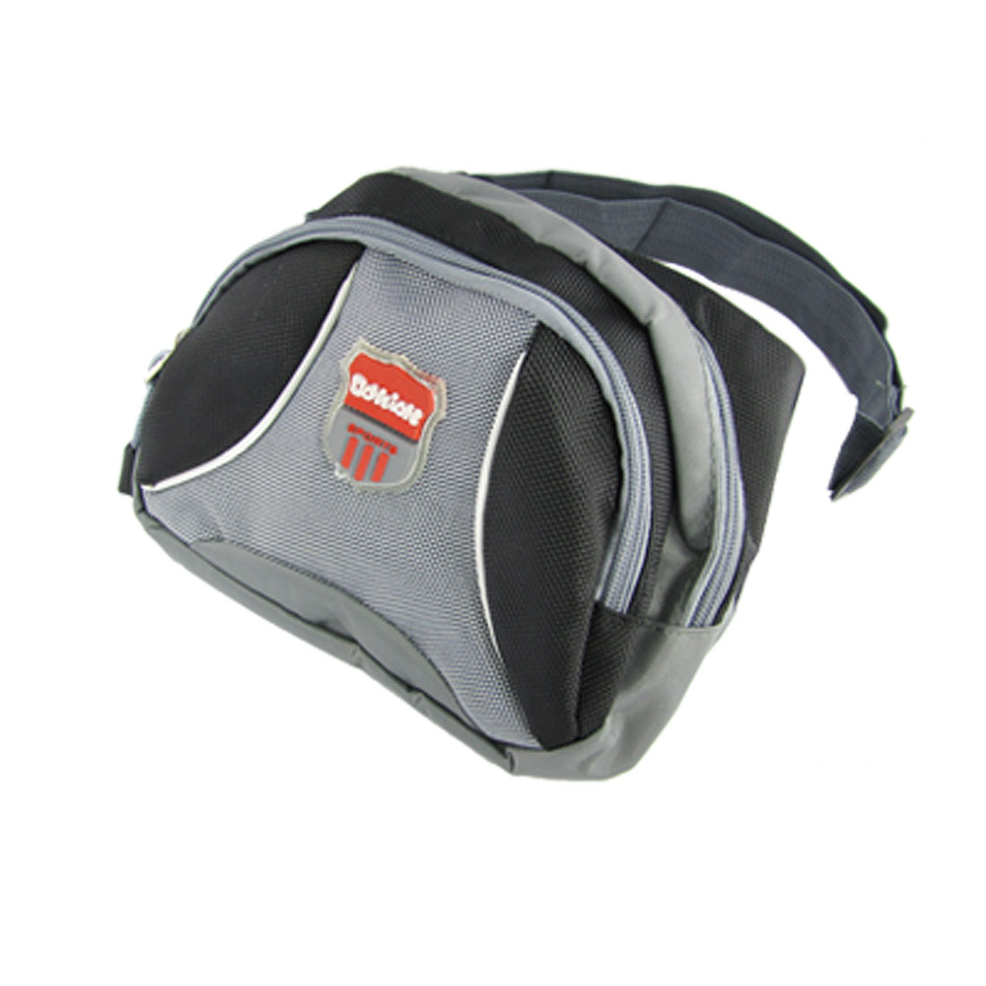 Zippered 3 Compartments Nylon Waist Pack Black Gray