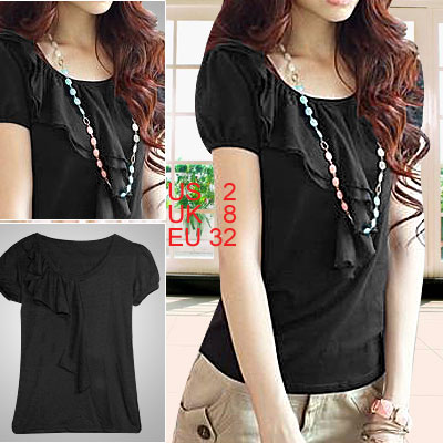Black Scoop Neck Short Sleeve Ruffle Bust Ladies T Shirt XS
