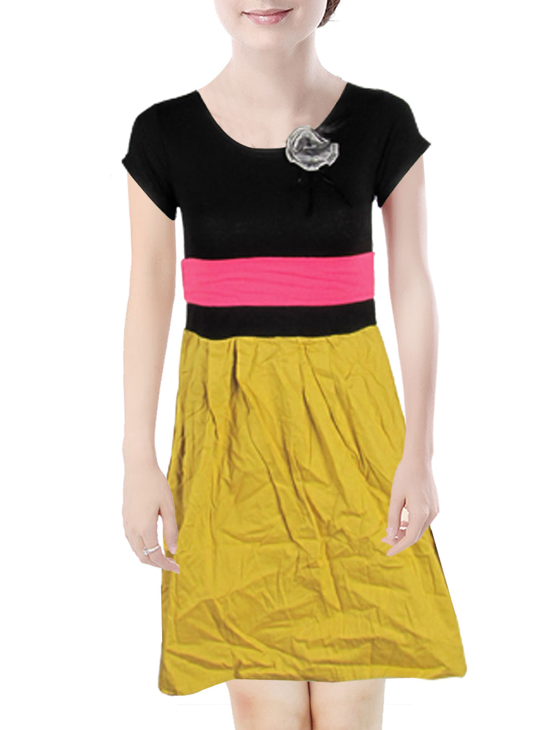 Lady Scoop Neck Short Sleeve Ruffle Black Orange Dress
