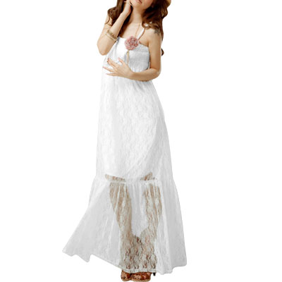 Ladies Lace Floral Style Smocked White Maxi Dress XS