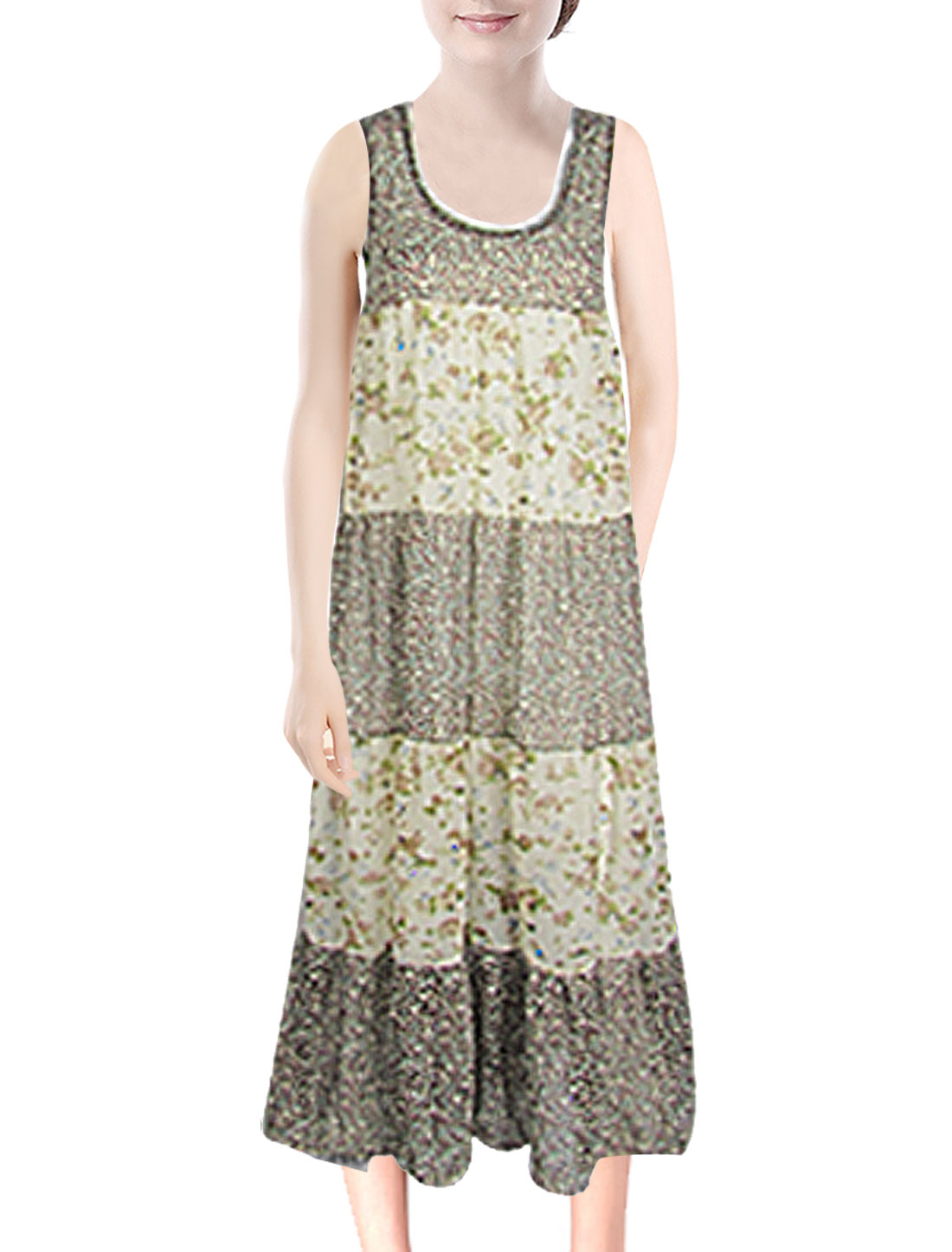 Ladies XS Floral Printed Chiffon Sleeveless Deep U Neck Maxi Dress