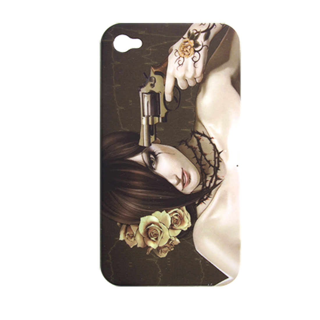 Girl w Gun Pattern Rubberized Plastic Case for iPhone 4 4G