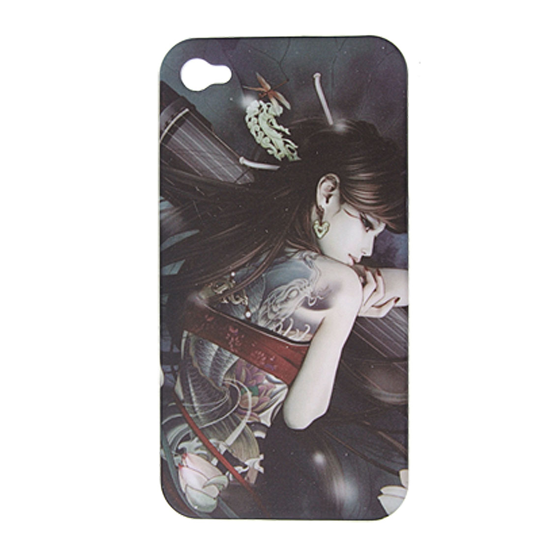 Tattoo Girl Design Rubberized Plastic Case for iPhone 4 4G