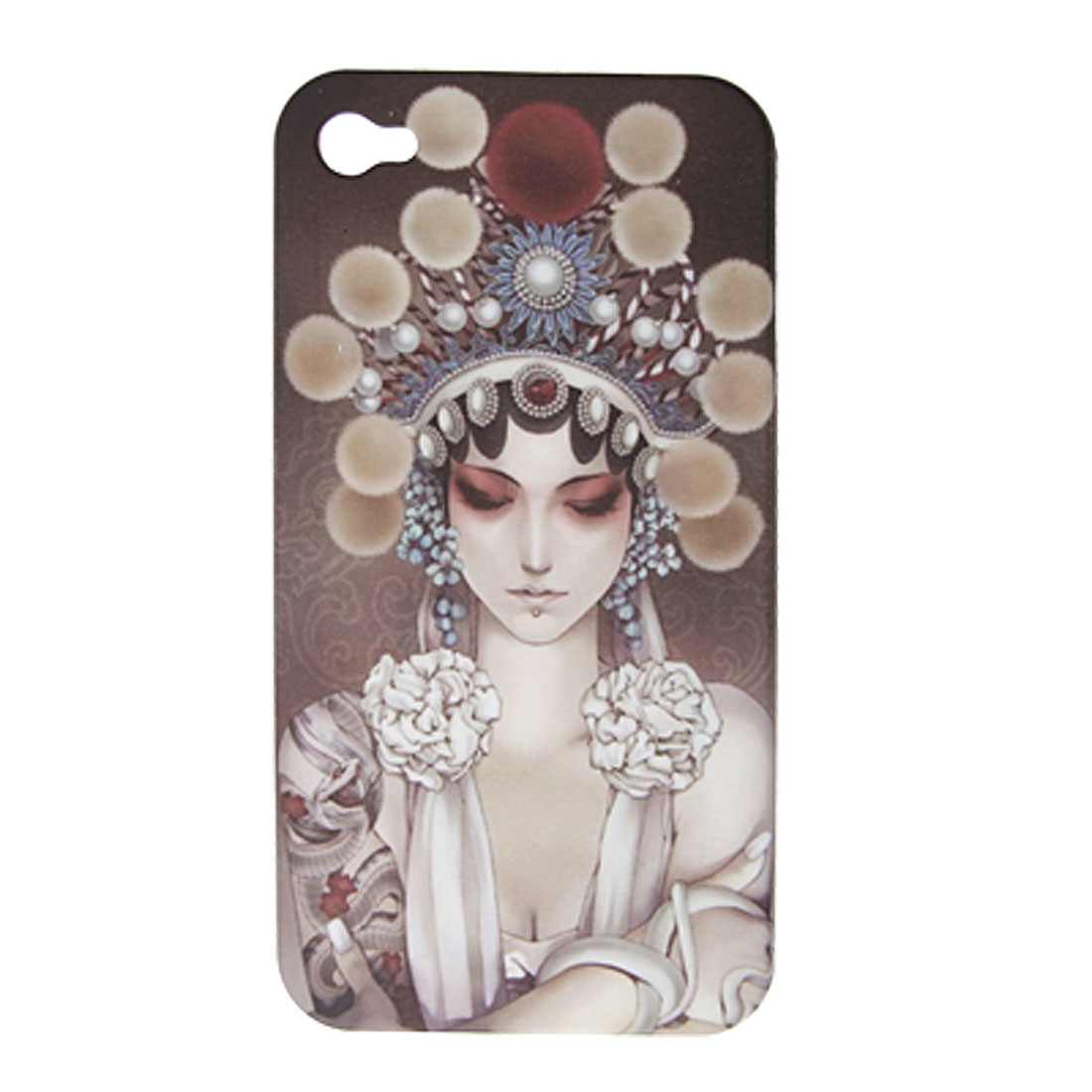 Coronetted Lady Print Hard Plastic Case for iPhone 4 4G