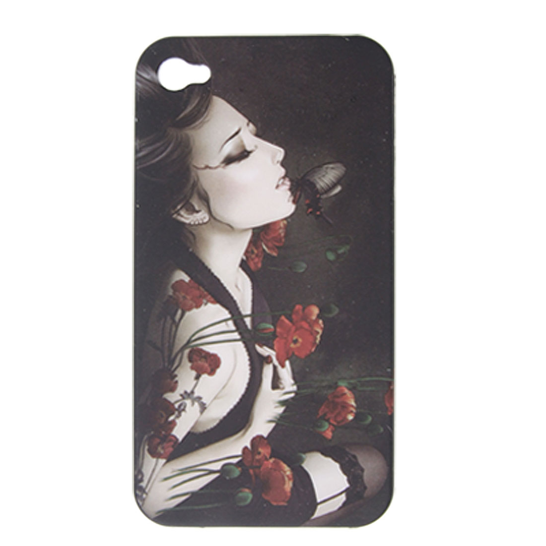 Sexy Lady Pattern Rubberized Plastic Case for iPhone 4 4G