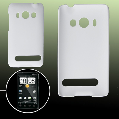 White Rubberized Hard Plastic Back Case Skin for HTC EVO 4G