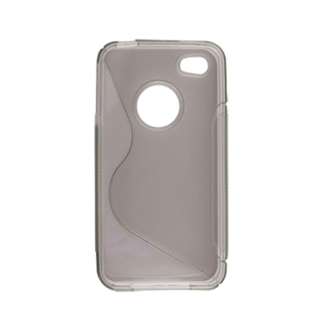 Clear Gray Soft Plastic Side Nonslip Back Case for iPhone 4 4G