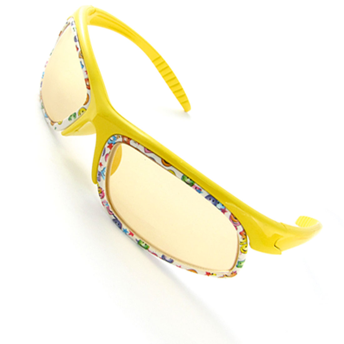 Yellow Slim Arms Cartoon Print Full Rim Sunglasses for Kids
