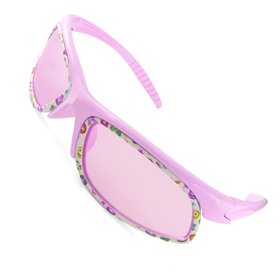 Children Smile Face Plastic Frame Outdoor Sunglasses Pink