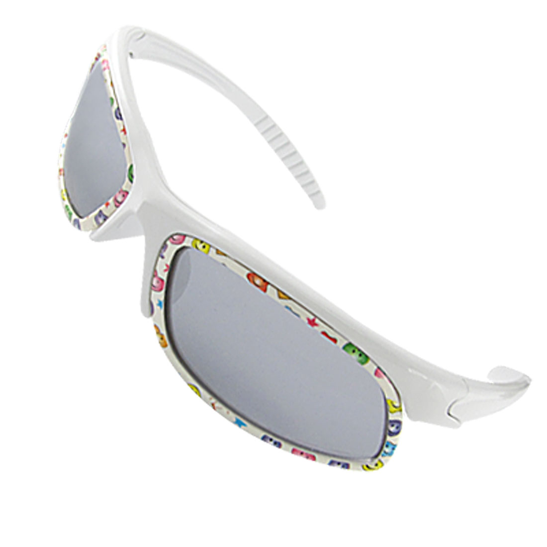 White Slim Arms Colorful Full Rim Sunglasses for Kids