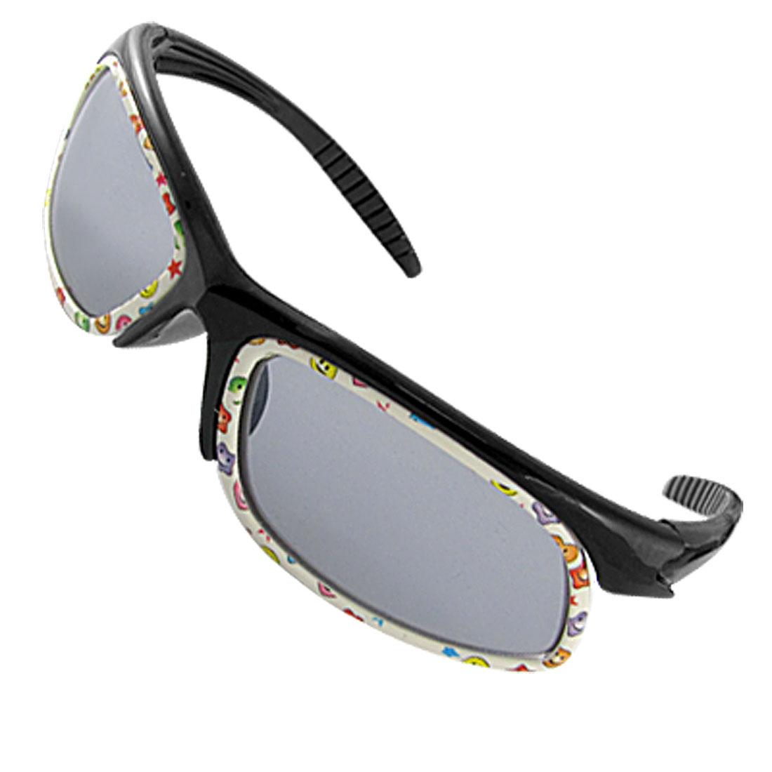 Cartoon Pattern Rim Frame Plastic Kids Sunglasses Black
